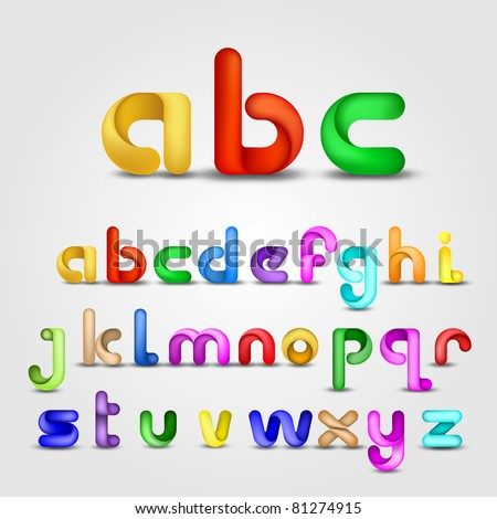 Colorful Decorative  Alphabet - stock vector