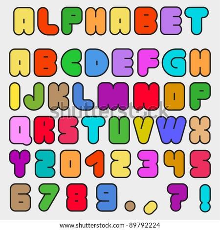 Colorful Decorative Alphabet Set - stock vector