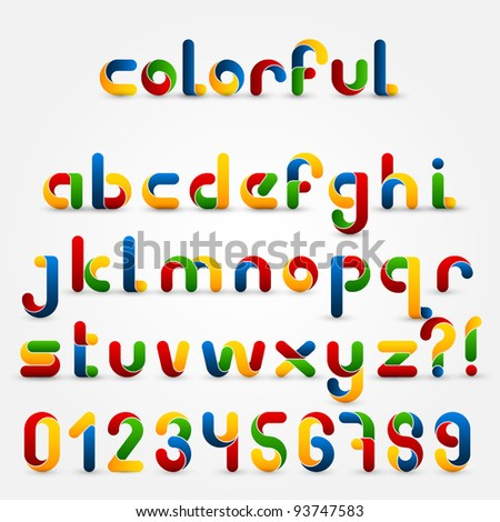 Colorful Decorative Alphabet Set - stock vector