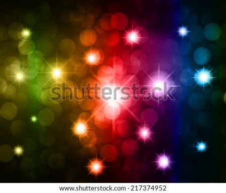 Colorful Defocused Light, Flickering Lights, Vector abstract festive background with bokeh defocused lights. Universe, galaxies, stars. - stock vector