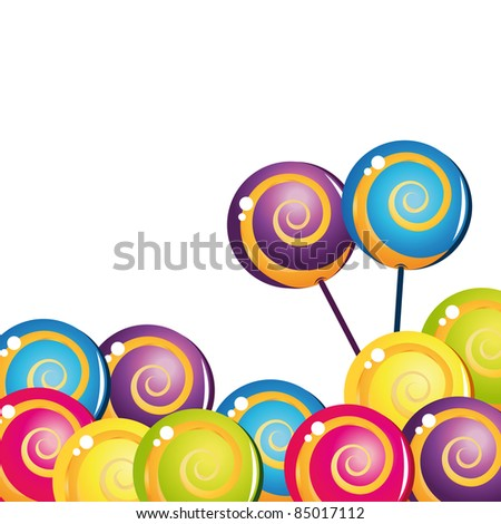 Colorful delicious lollipop collection - stock vector