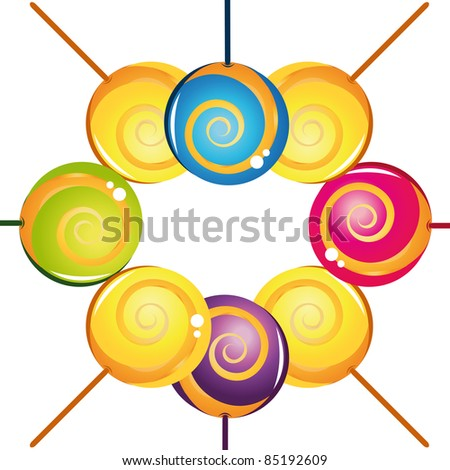 Colorful delicious lollipop collection. Vector illustration - stock vector