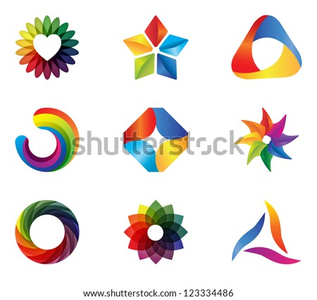 COLORFUL DESIGN ELEMENTS. Brand identity ideas icons and symbols such as logo. - stock vector