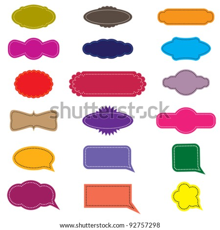 Colorful design retro frames or labels and speech bubbles. CMYK global process colors used. Management by layers. AI EPS 8 Vector. - stock vector