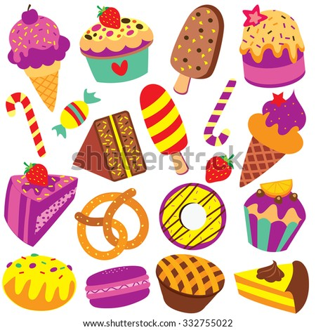 colorful desserts clip art set