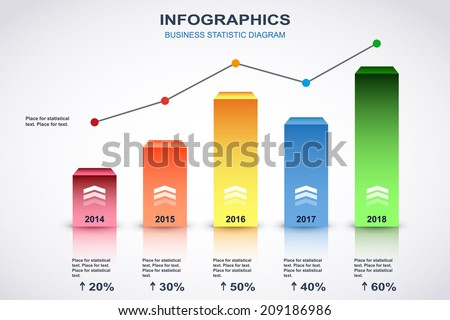 Colorful diagram with point chart and place for statistical text. Vector - stock vector