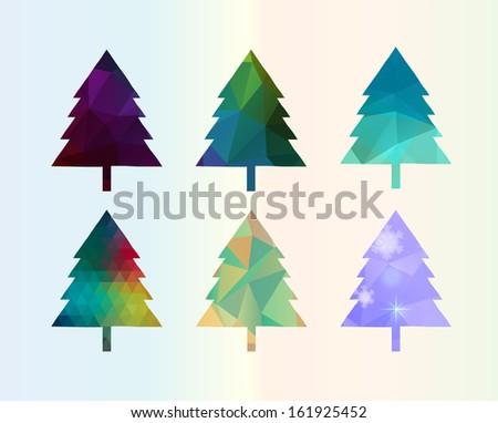 Colorful Diamonds Christmas Tree Set illustration - stock vector