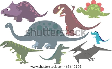 Colorful dinosaur collection of vector illustrations - stock vector