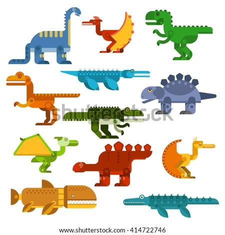 Colorful dinosaurs with pterodactyls, tyrannosaurus rex, brontosaurus, velociraptor, stegosaurus and prehistoric aquatic reptiles. Great for dino mascot, t-shirt print or children book design  - stock vector
