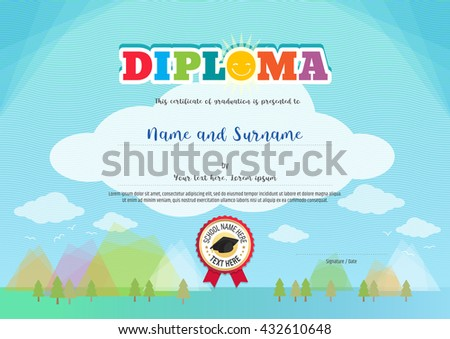 colorful diploma certificate template for kids activities or graduation on nature concept and cartoon style background