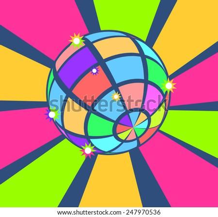 colorful disco ball - stock vector