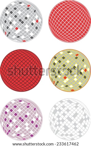 Colorful disco balls, isolated (no background). Vector illustration pack. - stock vector