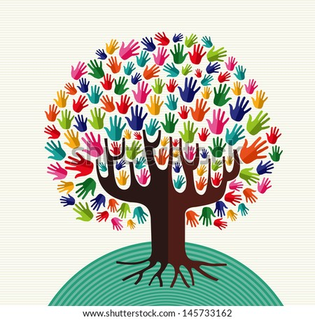 Colorful diversity tree hands illustration over stripe pattern background. Vector file layered for easy manipulation and custom coloring. - stock vector