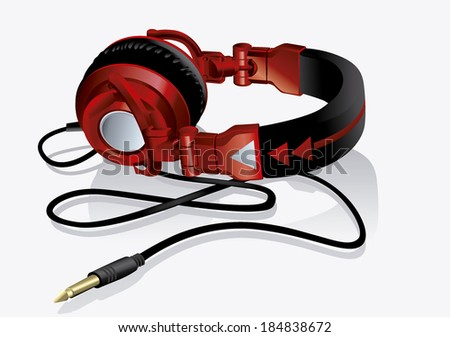 colorful DJ headphones red style - stock vector