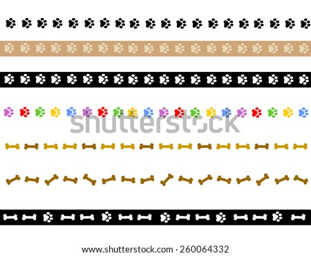 Colorful dog paw prints and dog bone divider collection on white background - stock vector