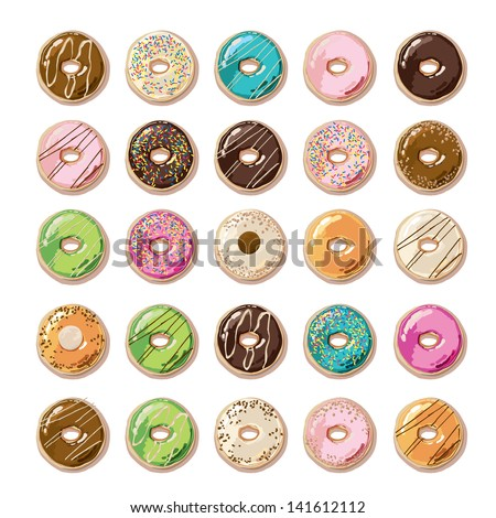 Colorful Donuts - stock vector