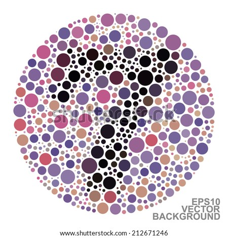 Colorful Dotted Abstract Background - number seven