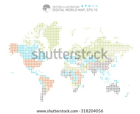 Colorful dotted world map, Colorful Digital world map  - stock vector