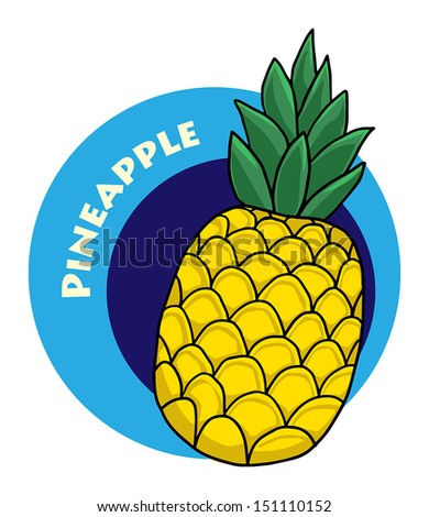 colorful drawn fruit label - pineapple, vector illustration