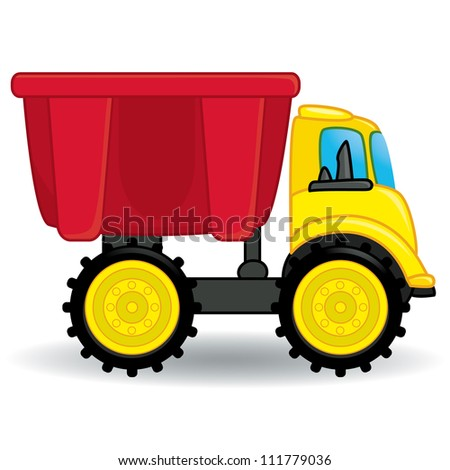 Colorful dump truck toy. Vector illustration - stock vector