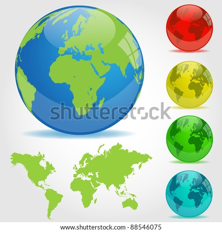 Colorful Earth Globes Illustration - stock vector