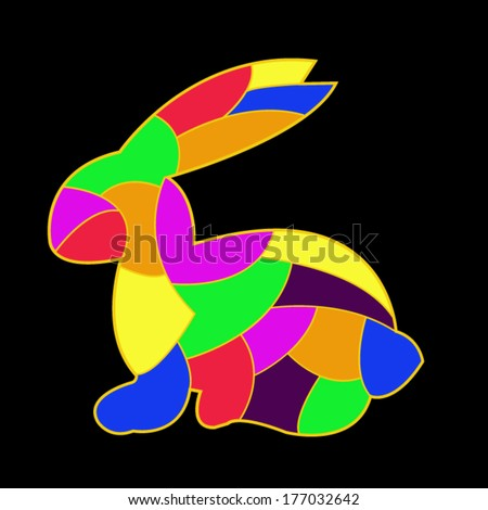 Colorful Easter Bunny card - stock vector