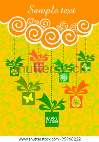 Colorful easter card. Celebration background with gift box and place for your text. Vector Illustration