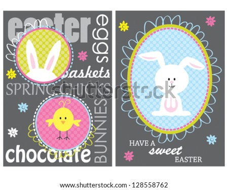 Colorful easter card with bunny - stock vector