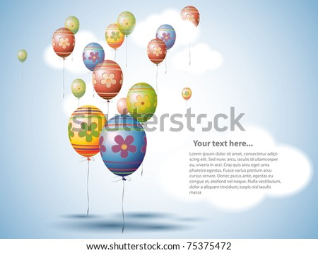 Colorful Easter Egg style Balloons on the Sky - stock vector
