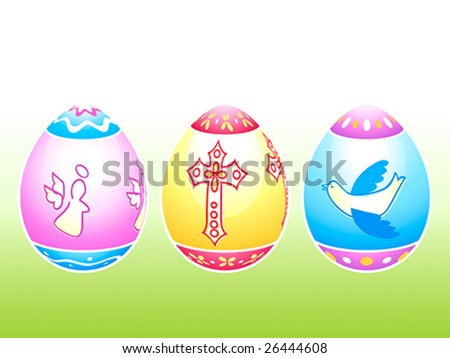 Colorful Easter eggs decorated by holy symbols - stock vector