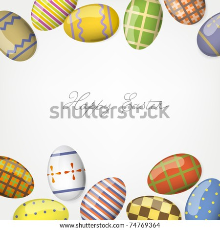 Colorful easter eggs. Frame background template. - stock vector