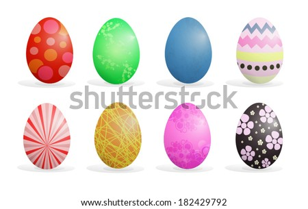 Colorful Easter eggs set vector illustration