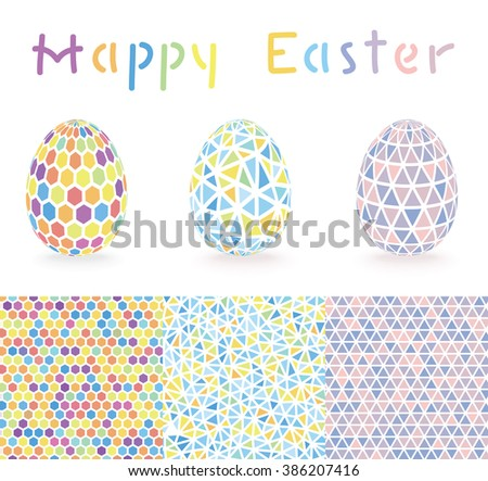 Colorful Easter eggs set with Polygonal backgrounds - stock vector