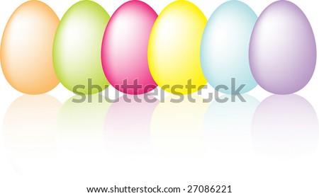 Colorful easter eggs with reflection vector - stock vector