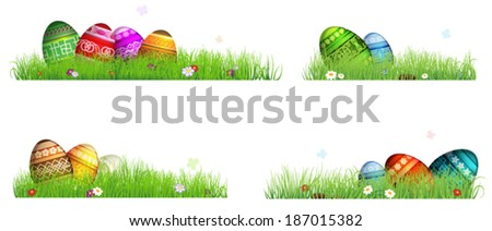 Colorful Easter eggs with spring flowers in the grass. Four Easter scenes on a white background - stock vector
