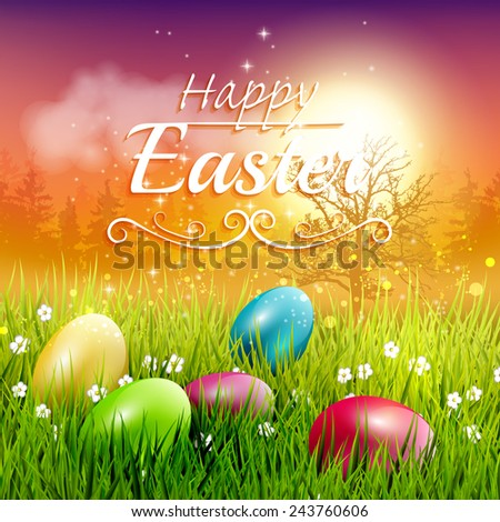 Colorful Easter Greeting Card With Eggs In The Grass