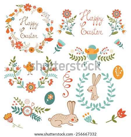 Colorful Easter related elements collection. Vector illustration - stock vector
