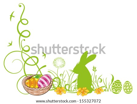 Colorful easter tendril with easter eggs and easter bunny. - stock vector