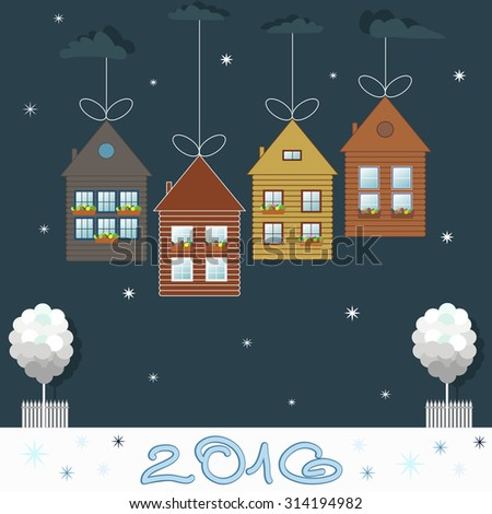 Colorful Eco Houses For Sale, Real Estate, Christmas Gifts - stock vector