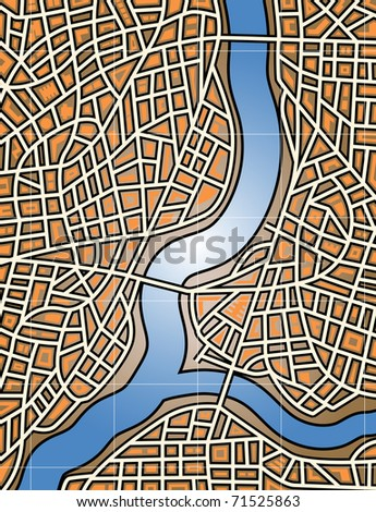Colorful editable vector map of a generic city and river