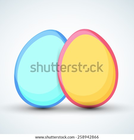 Colorful eggs on shiny sky blue background for Happy Easter celebration. - stock vector