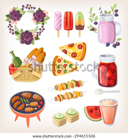 Colorful elements and food for recreation at hot summer day and evening - stock vector