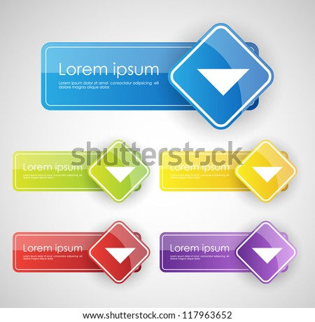 colorful empty buttons - stock vector