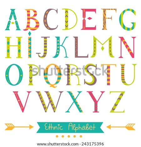 Colorful ethnic ABC letters. Hand drawn isolated alphabet. Nice font for your design. Vector. - stock vector