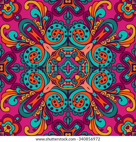 Colorful Ethnic Festive Abstract luxury design. Damask flourish Floral Vector Pattern