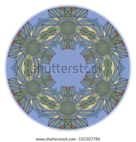 Colorful ethnicity round ornament, mosaic vector illustration - stock vector