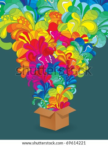 Colorful explosion from box - stock vector