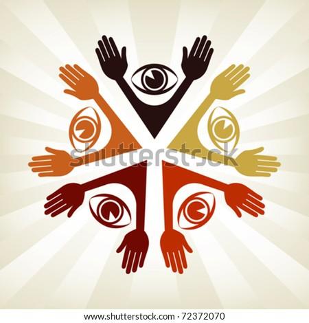 Colorful eye people design. - stock vector