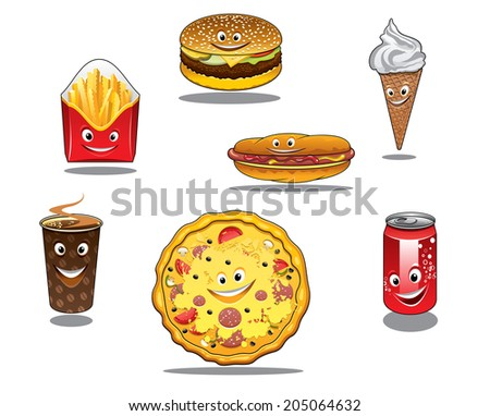 Colorful fast food and takeaway food logo icons with packet of French fries, burger, ice cream cone, coffee, pizza, hotdog and soda all with happy faces, cartoon style - stock vector