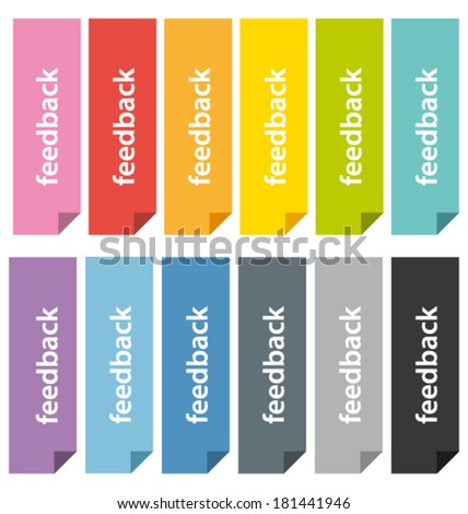 Colorful feedback bookmarks. Vector tabs set.  - stock vector